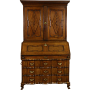 Oak Carved 1790's Antique Secretary Desk & Bookcase, Denmark