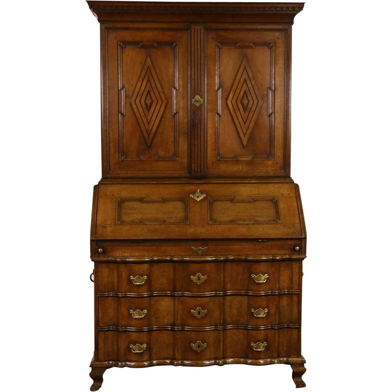 Oak Carved 1790's Antique Secretary Desk & Bookcase, Denmark