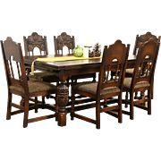 English Tudor Carved Oak 1925 Antique Dining Set, Table & 8 Chairs
