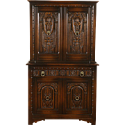 English Tudor 1925 Antique Carved Oak Bar or China Cabinet, Signed Life Time
