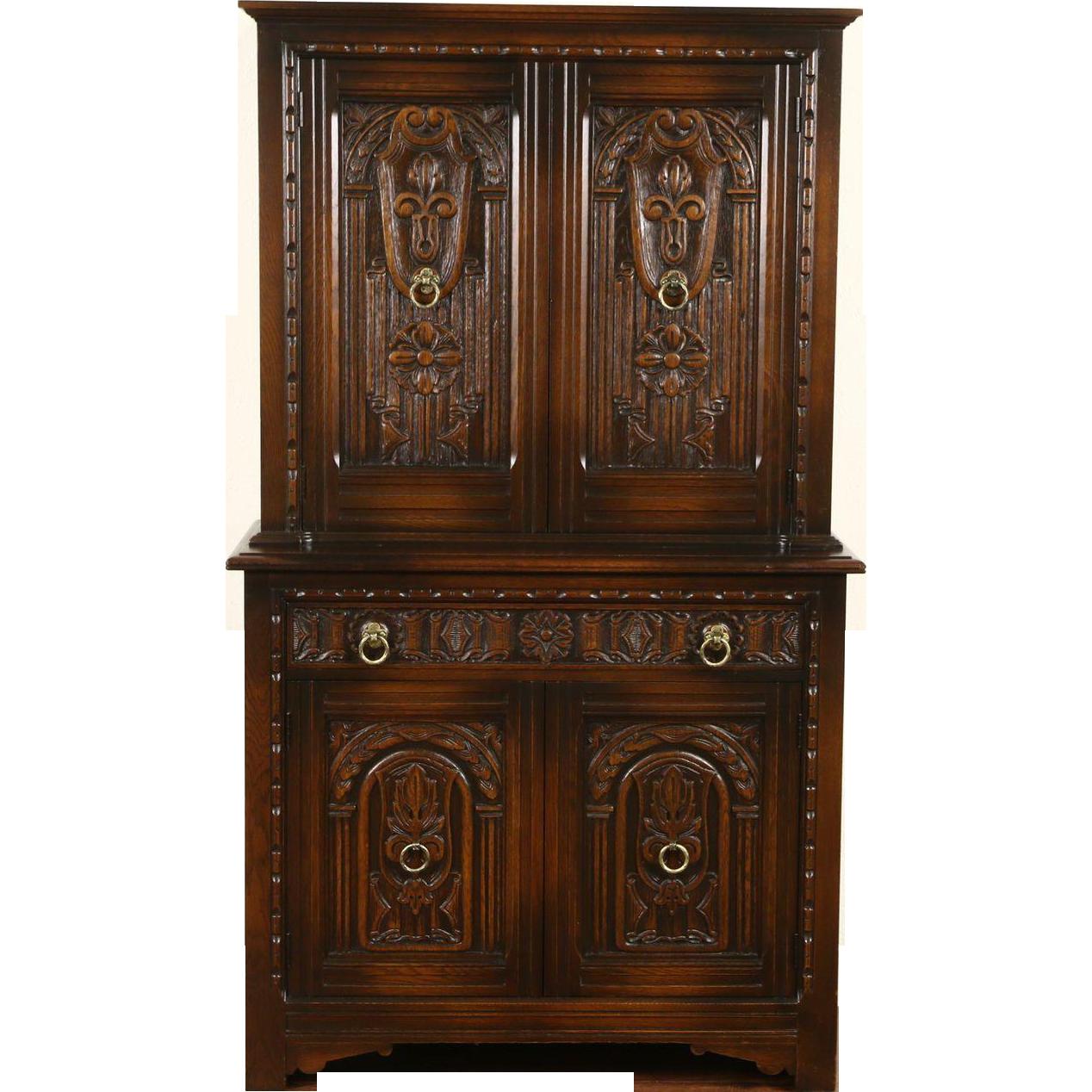 English Tudor 1925 Antique Carved Oak Bar or China Cabinet, Signed Life Time