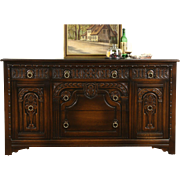 English Tudor 1925 Antique Oak TV Console, Sideboard Server or Buffet, Life Time