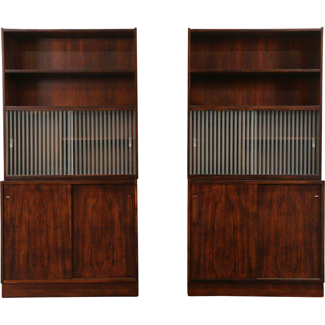 Pair Rosewood Midcentury Danish Modern 1971 Vintage Cabinets or Bookcases