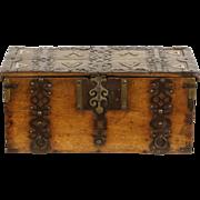 Thai Antique late 1800's Teak Treasure Box or Chest, Iron Stand