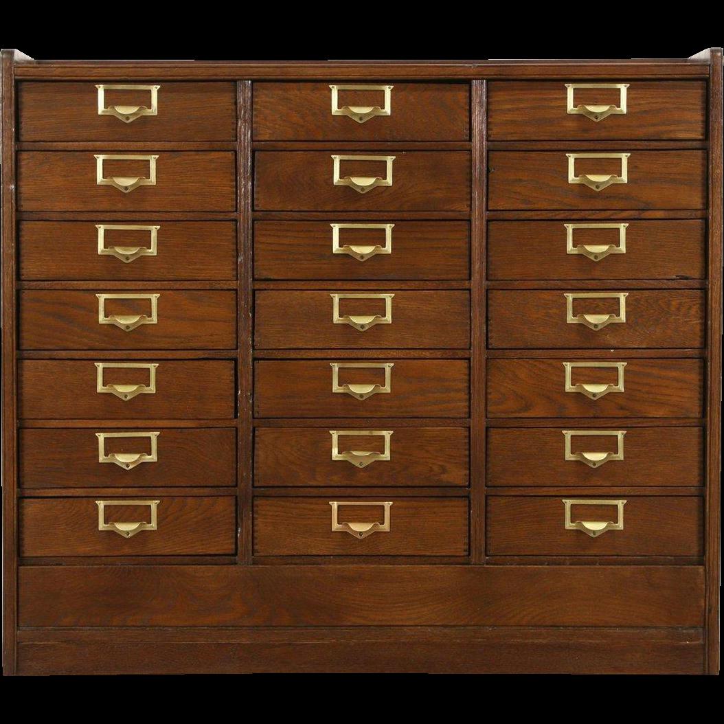 Oak 21 Drawer File or Collector Cabinet, 1915 Antique, Brass Pulls
