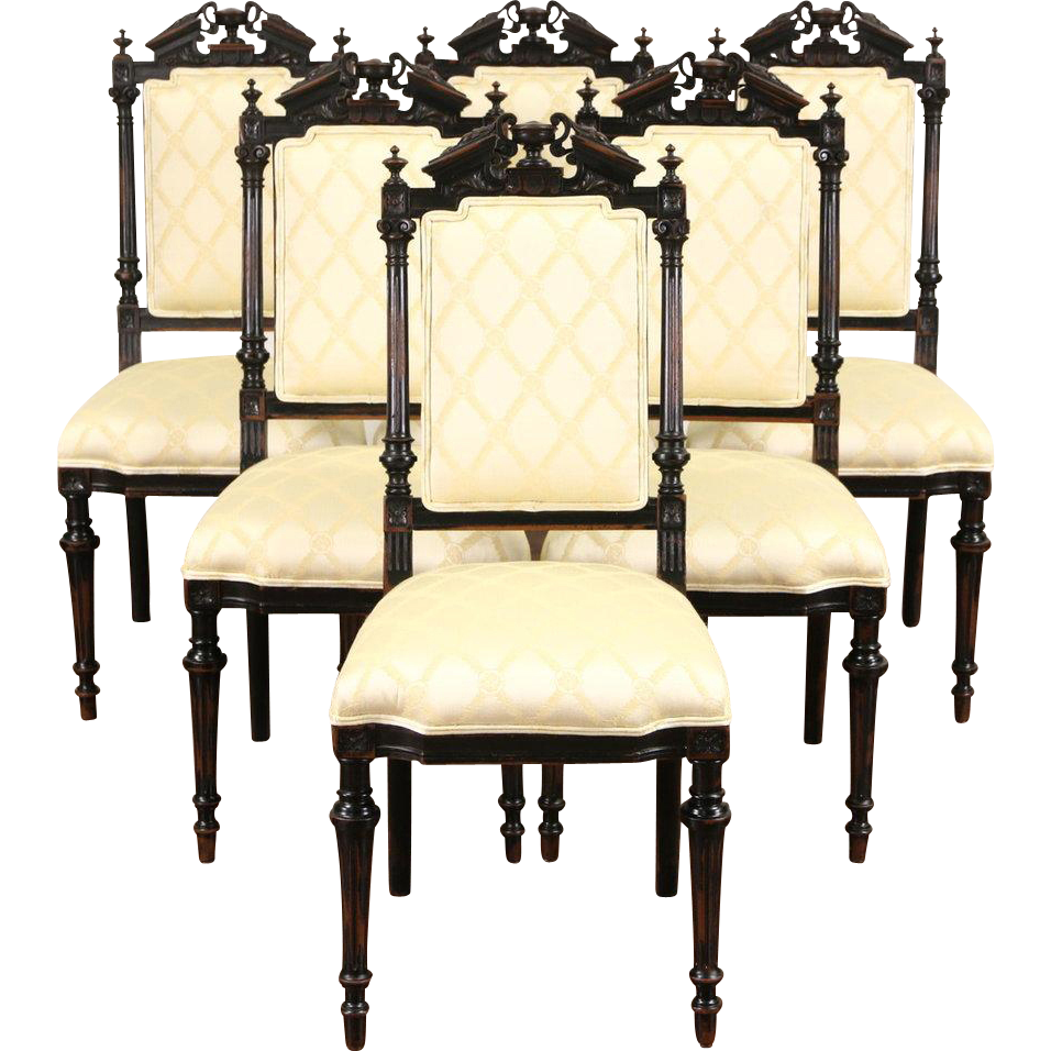 Set of 6 Victorian Renaissance 1870 Antique Cherry Dining Chairs, New Upholstery