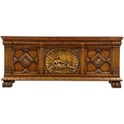 Oak Scandinavian 1920's Antique Sideboard TV Console, Carved Figures