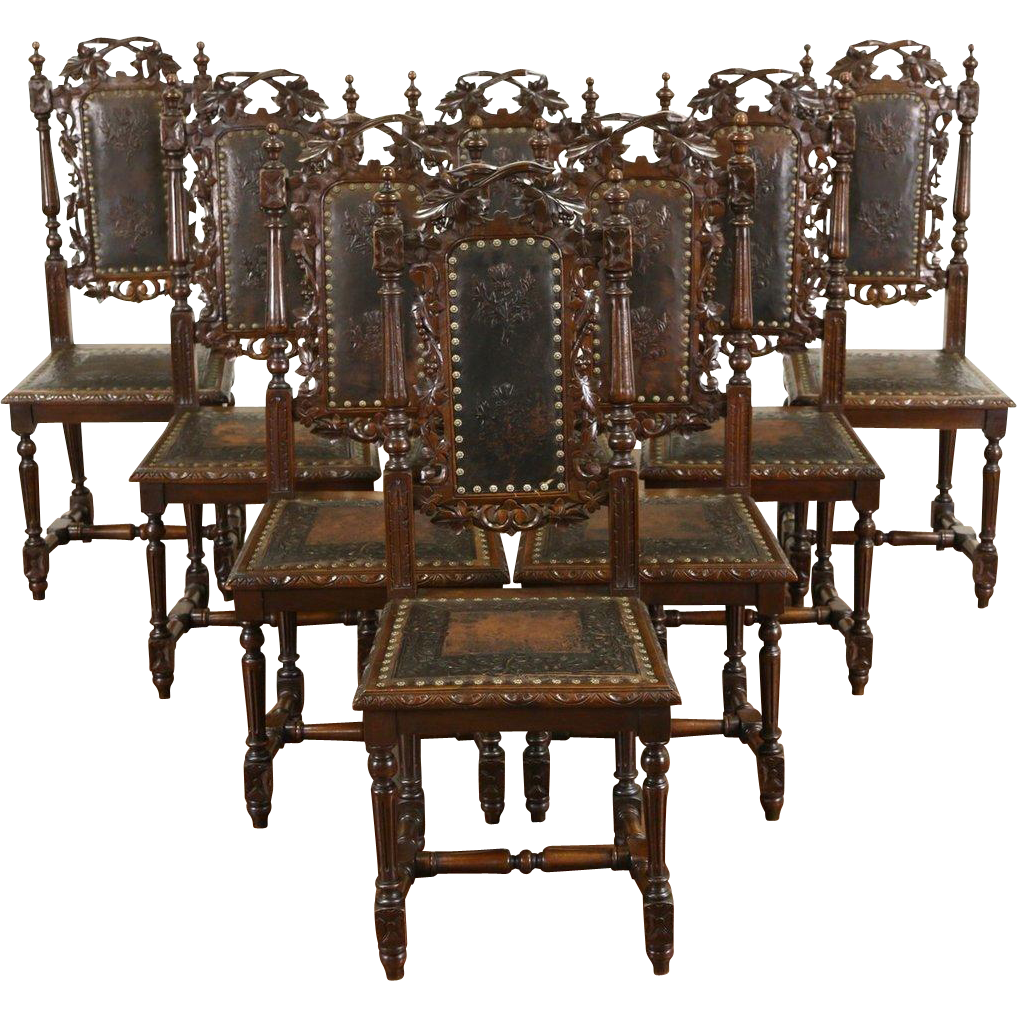 Set of 8 Black Forest Grapevine Carved 1880's Dining Chairs, Embossed Leather