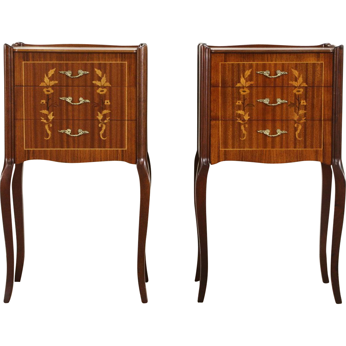 Pair of French 1950's Vintage Mahogany & Marquetry Nightstands