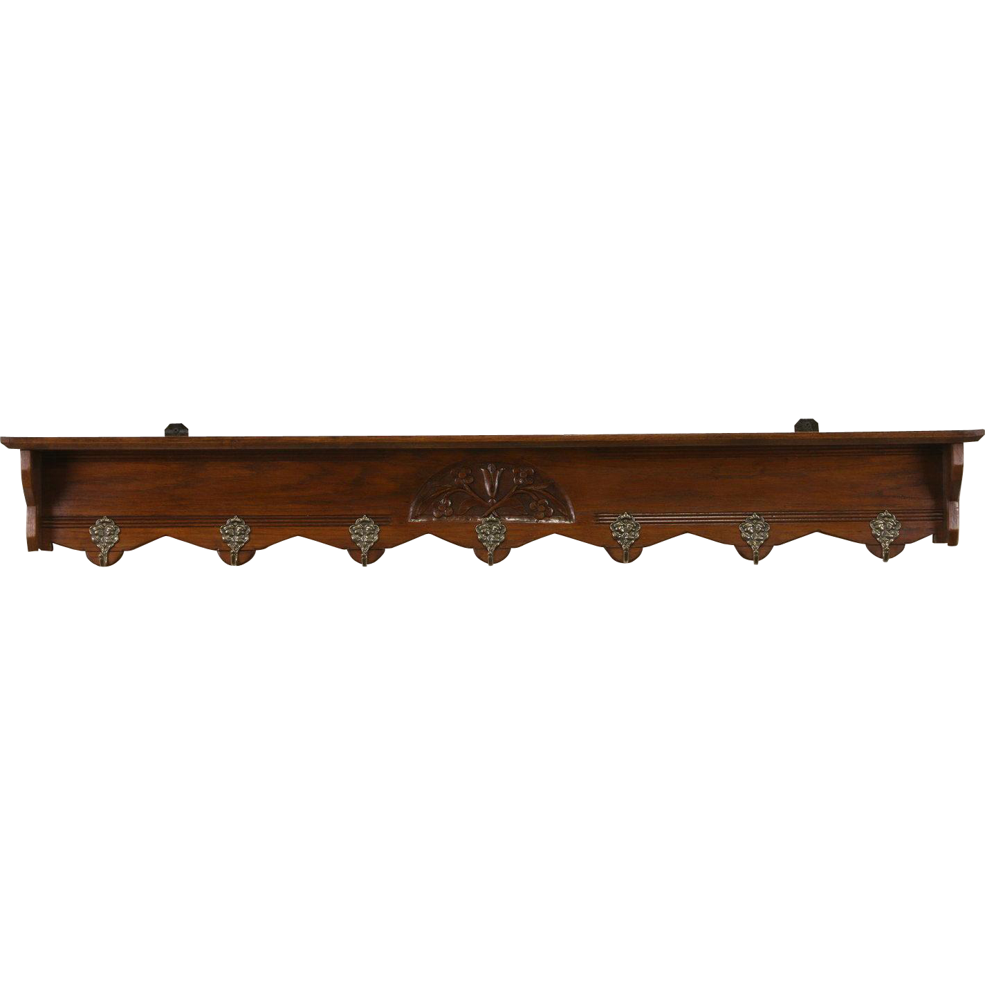 Dutch Oak Antique 1900 Wall Shelf Coat & Hat Rack