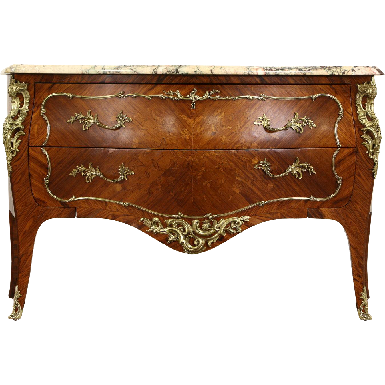 French Bombe 1930's Vintage Commode or Chest, Marble Top, Tulipwood Marquetry