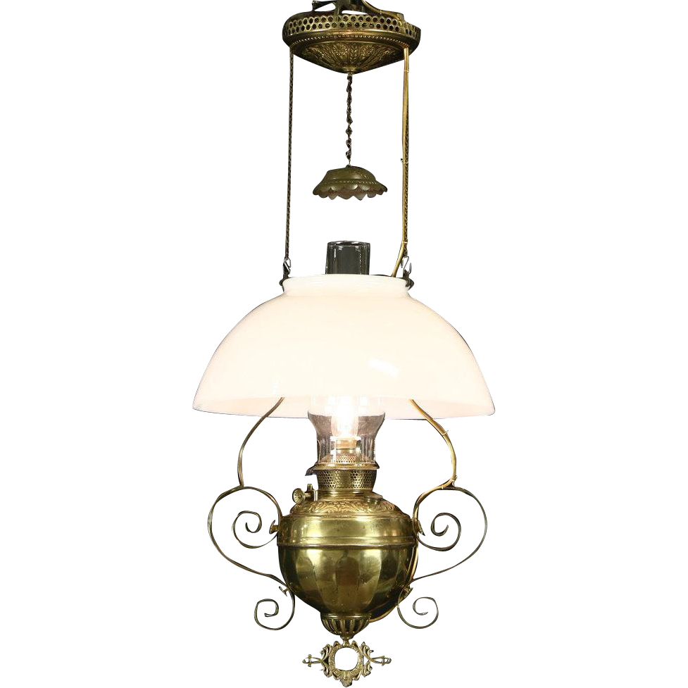 Victorian 1880 Antique Brass Hanging Lamp or Chandelier, Electrified