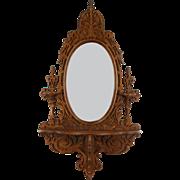 Victorian 1870 Antique Carved Walnut Mirror & Shelf, Candlestands