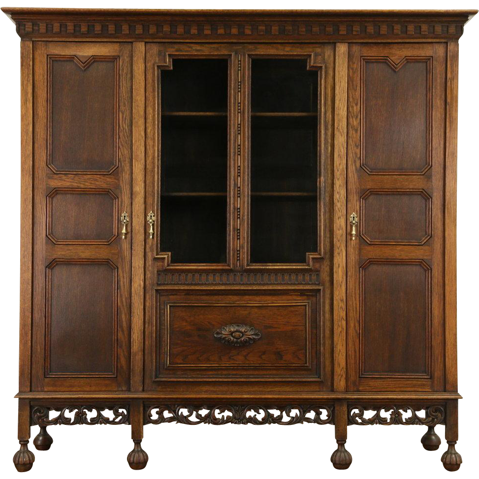 Dutch Hand Carved Oak 1910 Antique Bookcase, Wavy Glass Doors - Dutch Hand Carved Oak 1910 Antique Bookcase, Wavy Glass Doors From