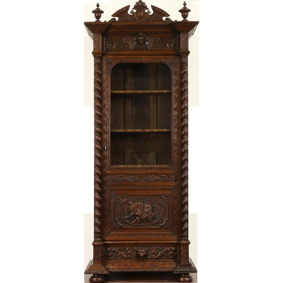 Black Forest 1870 Antique Oak Bookcase, Carved Spiral Columns & Gargoyles