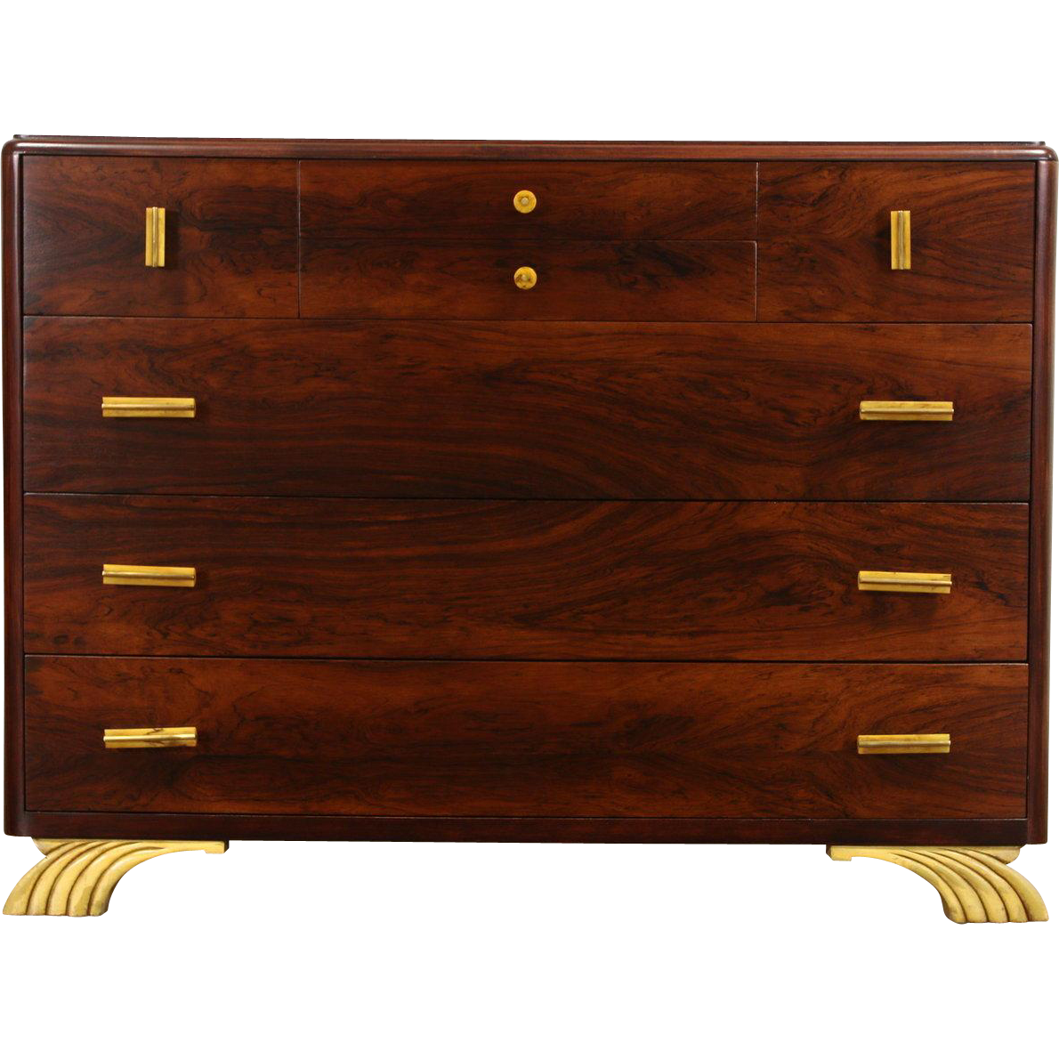 Art Deco Rosewood 1930's Chest or Dresser, Bakelite Pulls, Signed Joerns