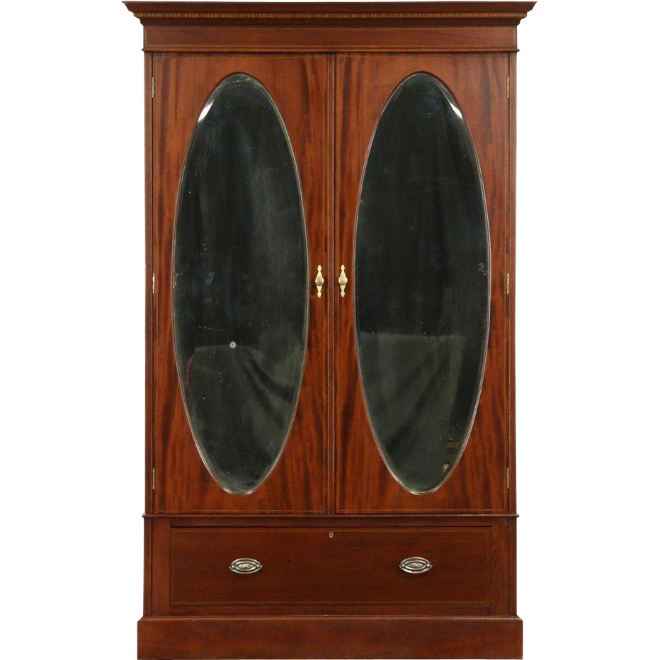 English 1910 Antique Armoire or Wardrobe Closet, Oval Beveled Mirror Doors