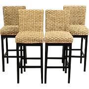 Set of 4 Teak and Rattan Vintage Bar Stools