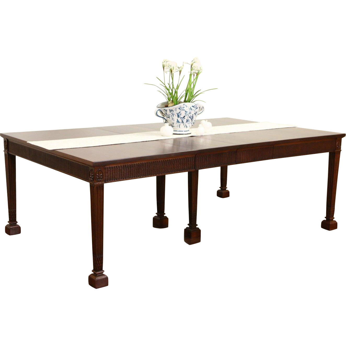 Traditional Georgian Style Mahogany Signed Dining Table, 7 Leaves, Extends 13'