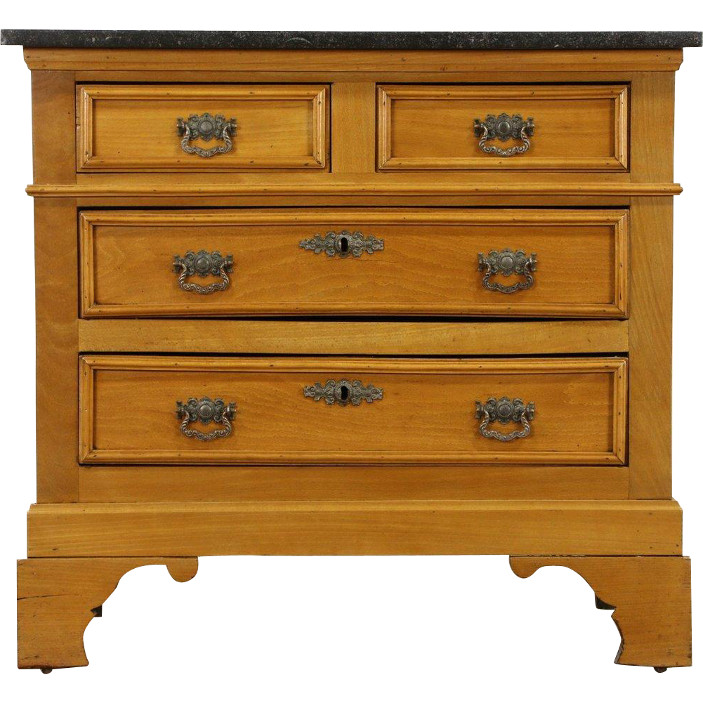Marble Top 1900 Antique European Beech Dresser or Chest
