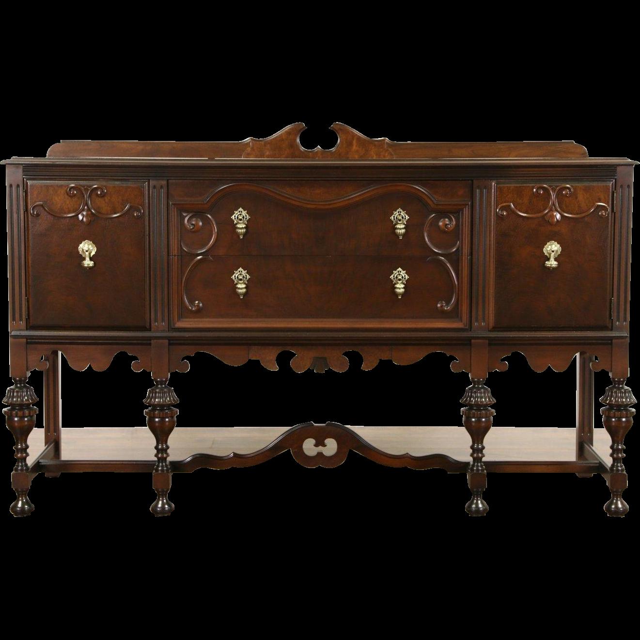 English Tudor 1920 Antique Walnut Sideboard Server or Buffet