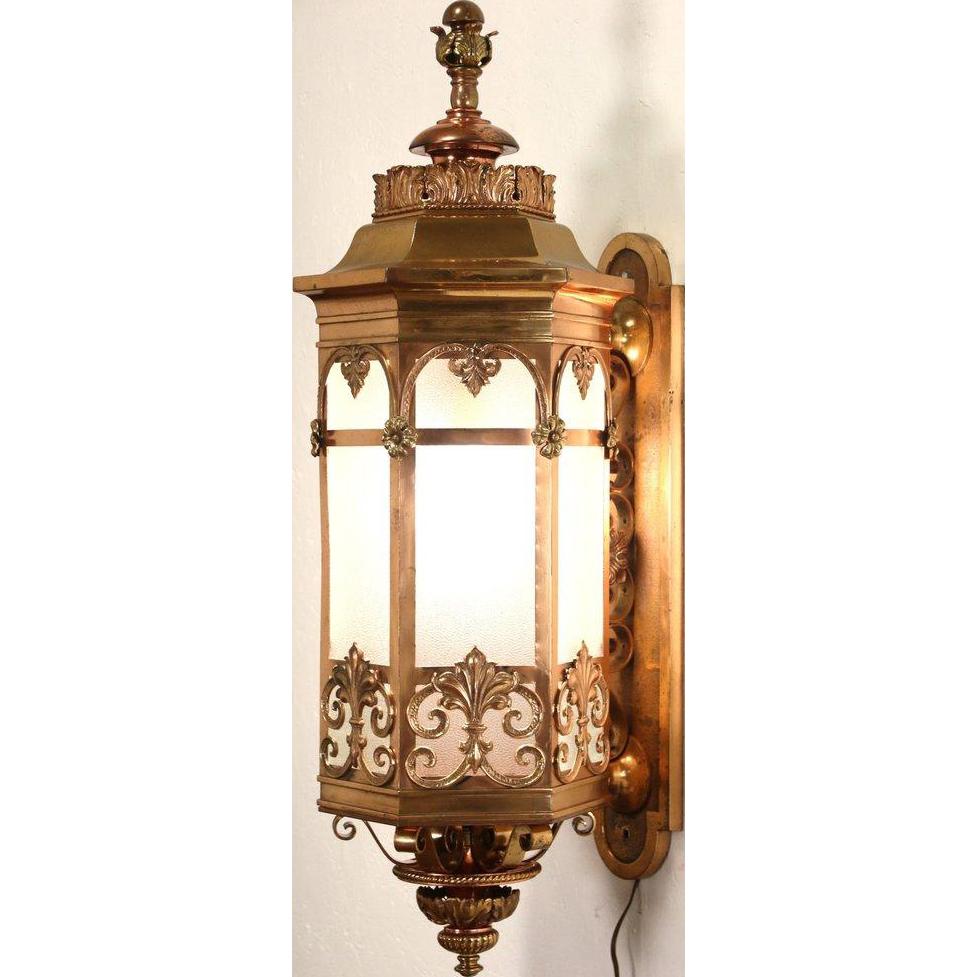 "Bronze Embossed 1910 Antique Architectural Salvage 40"" Wall Lantern"