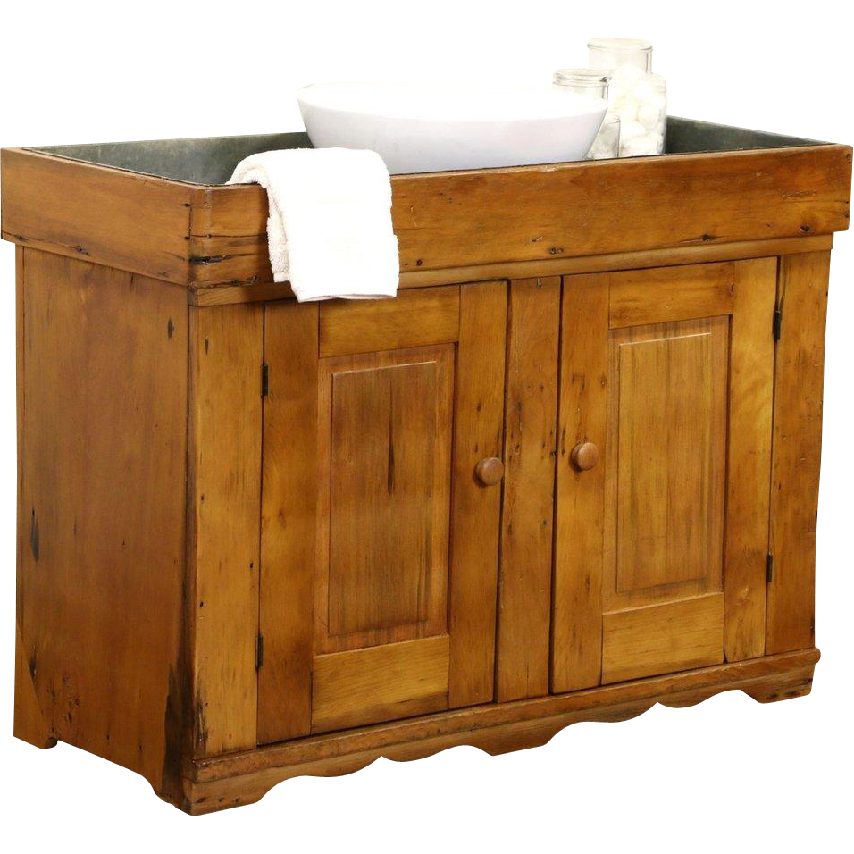 Country Pine 1890 Primitive Dry Sink, Zinc Lined