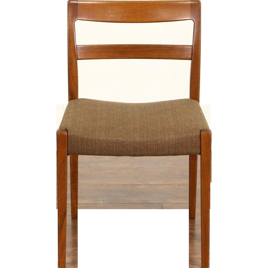 Teak Midcentury Danish Modern 1960's Desk or Side Chair, New Upholstery