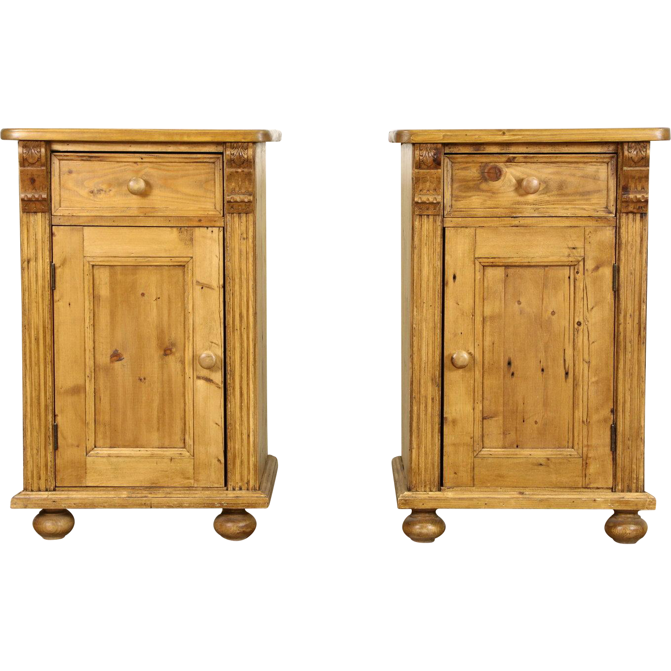 Country Pine Vintage Nightstands or End Tables, Handcarved in Europe