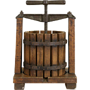 Grape, Wine, Fruit or Cider Press, 1900 Antique Oak & Iron