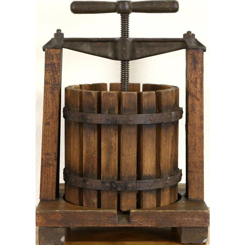 Grape, Wine, Fruit or Cider Press, 1900 Antique Oak & Iron