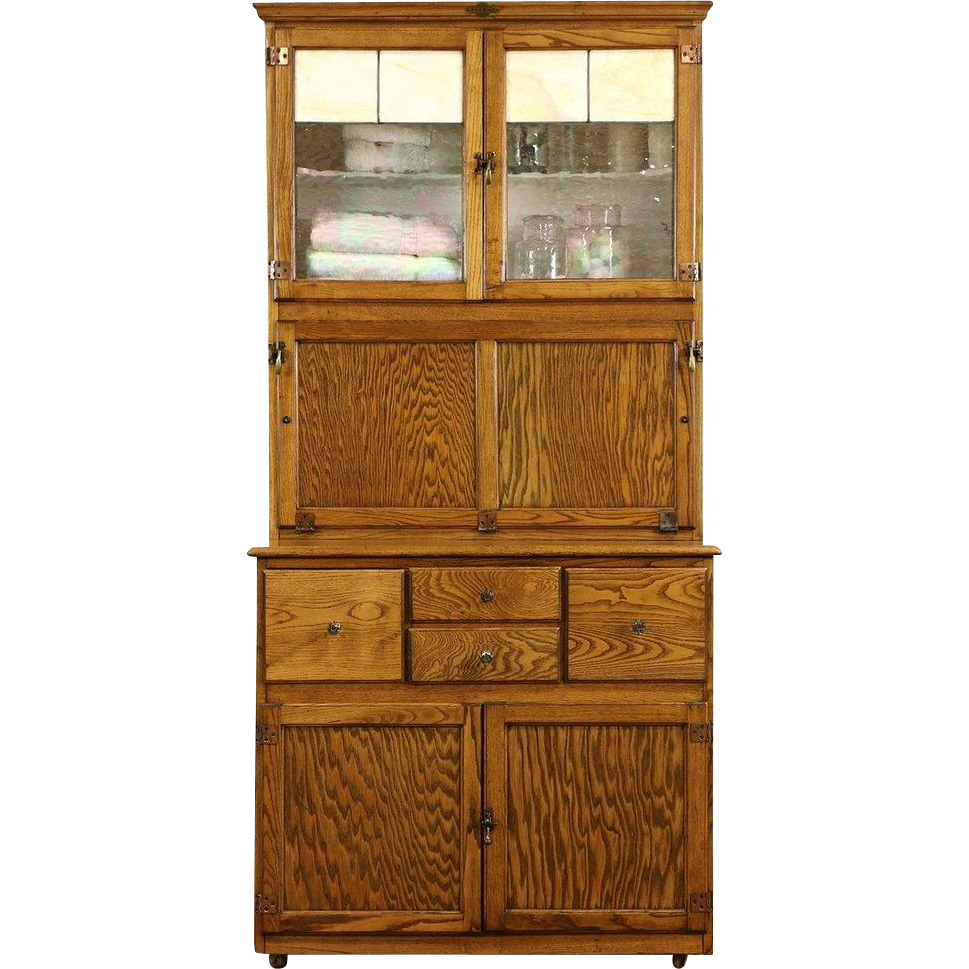 Hygena English 1930's Oak Vintage Hoosier Kitchen Cupboard or Physician Cabinet