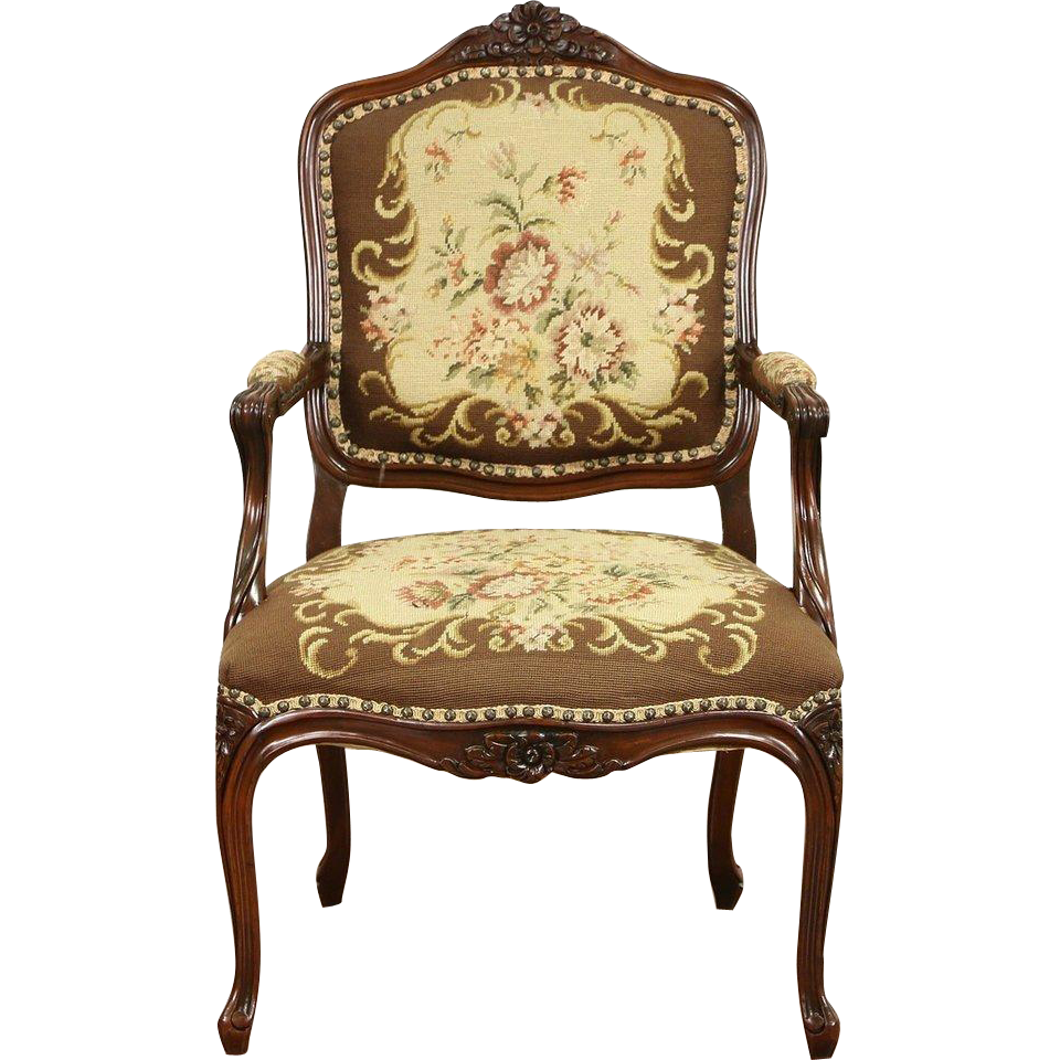 French 1930 Vintage Hand Carved Fauteuil Chair, Hand Stitched Needlepoint