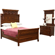 Victorian Eastlake 1880's Antique Walnut & Burl 2 Pc. Bedroom Set, Full Size Bed