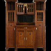 English Arts & Crafts 1910 Antique Oak Sideboard, Server, Bar or China Cabinet