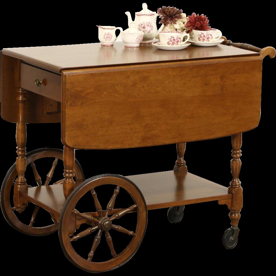 Ethan Allen Signed Vintage Maple Tea or Dessert Cart, Beverage Trolley