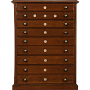 Walnut 1890 Antique Eye Dr. Lens File, Collector Cabinet or Jewelry Chest