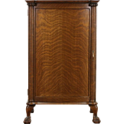 Oak 1910 Antique Sheet Music File Cabinet, Carved Claw Feet