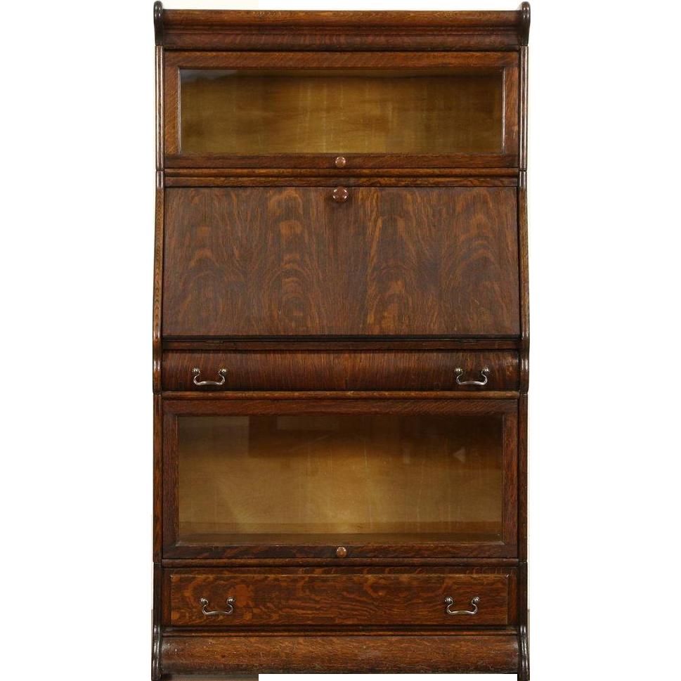 Oak 1900 Antique Barrister or Lawyer Stacking Bookcase & Desk