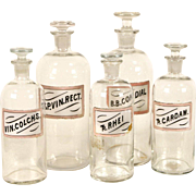 Set of 5 Antique 1880's Apothecary Medical Drug Store Jars, Pink Labels