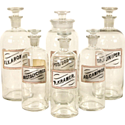 Set of 6 Antique 1880's Apothecary Medical Drug Store Jars, Pink Labels