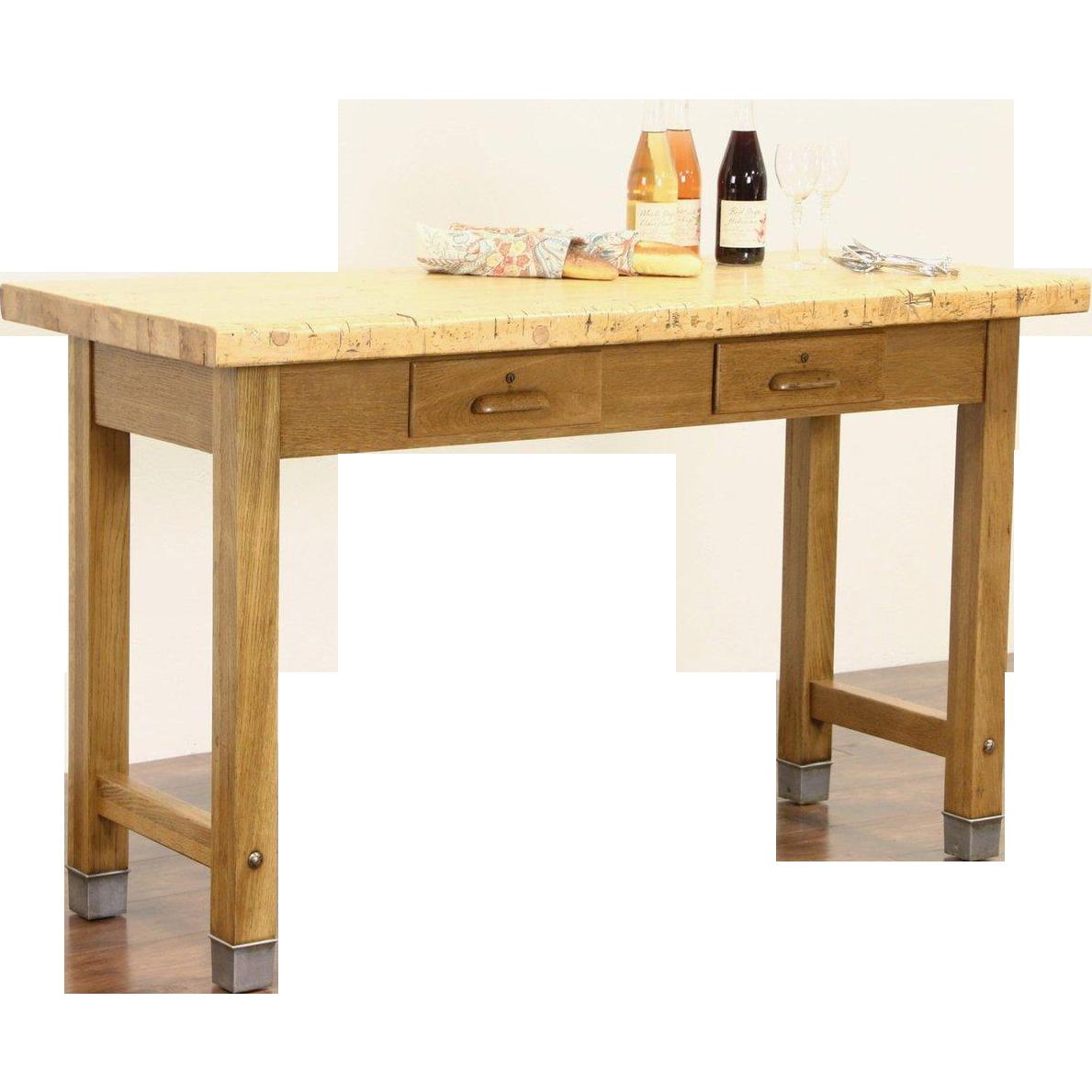 Kitchen Island, Industrial Lab Work Table, 1920's Butcher Block & Oak Base