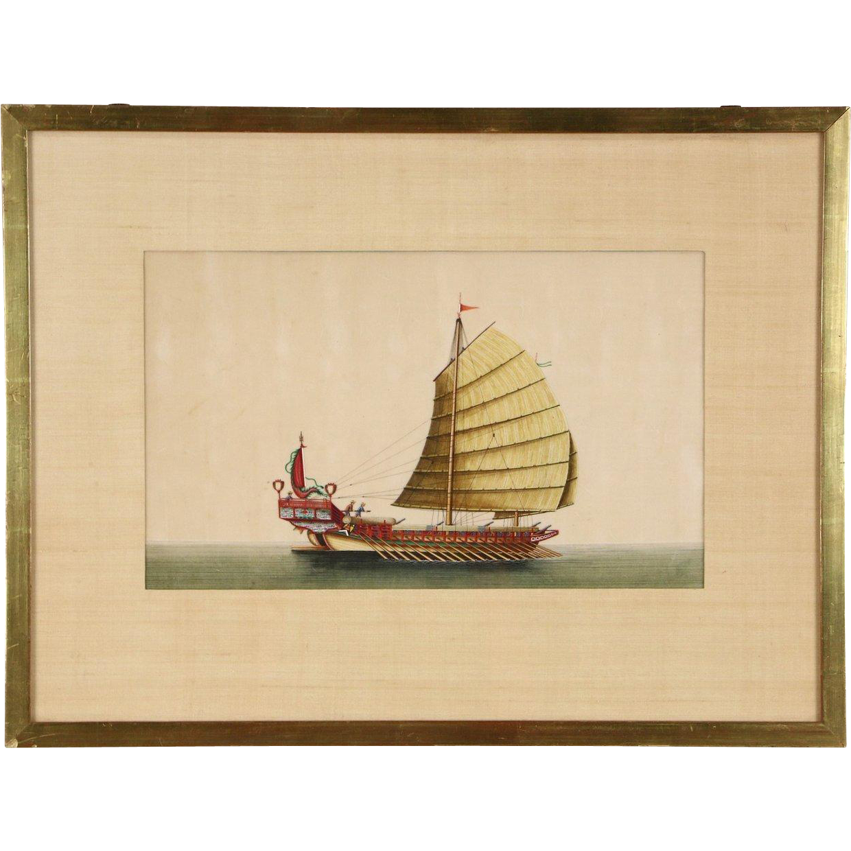 Chinese 1900's Antique Original Painting of Galley Sailing Ship