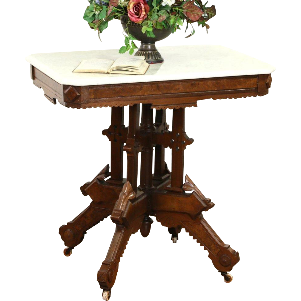 Victorian 1880's Antique Marble Top Carved Walnut & Burl Lamp Table