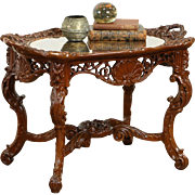 Renaissance Carved 1925 Coffee Table, Inlaid Rosewood Marquetry