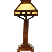 Arts & Crafts Mission Oak 1910 Antique Stained Glass Craftsman Lamp
