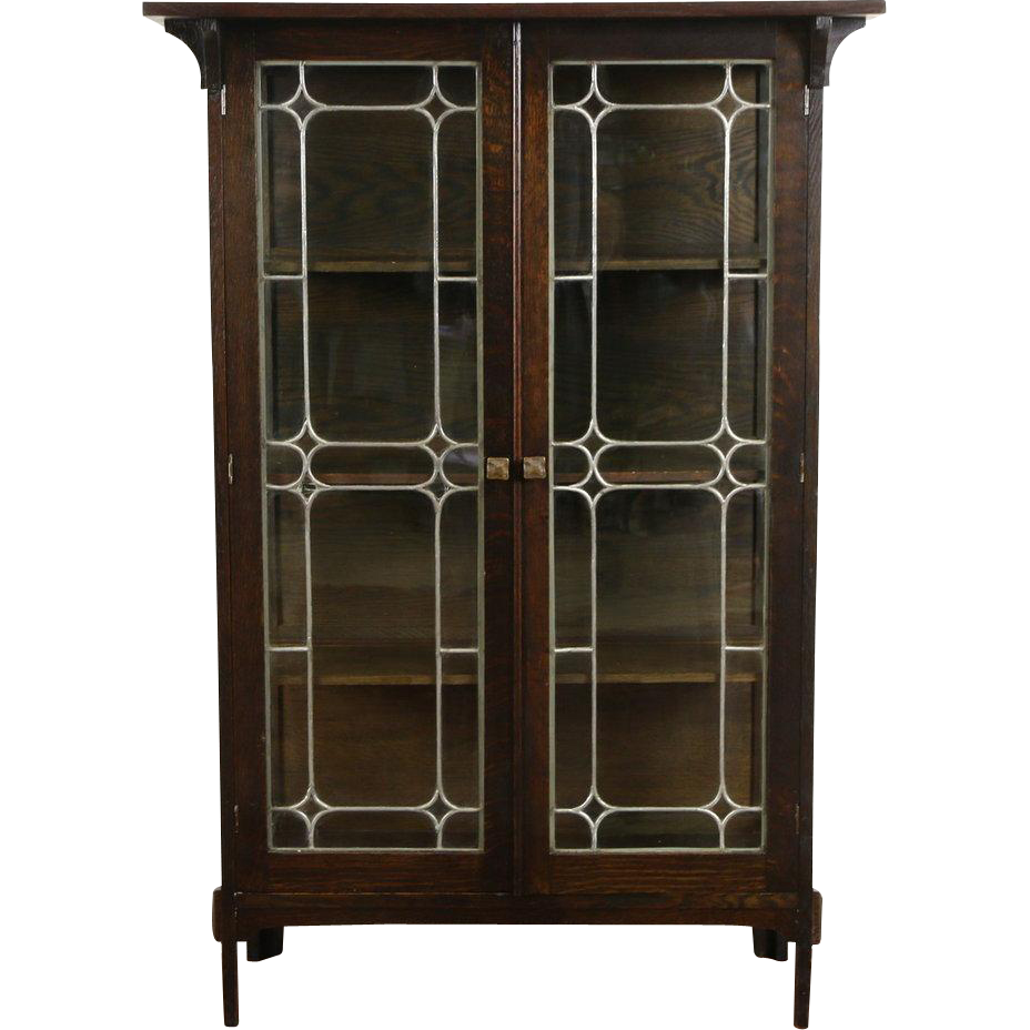 Arts & Crafts Mission Oak 1905 Antique China Curio Cabinet, Leaded Glass