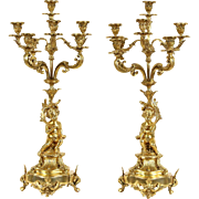 "Pair Gold Angel or Cherub 28"" Baroque Candelabra"