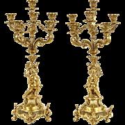 """Pair Gold Angel or Cherub 28"""" Baroque Candelabra"""