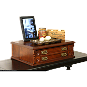 Victorian 1880 Antique Walnut Spool Cabinet or Jewel Box, Bail Handles
